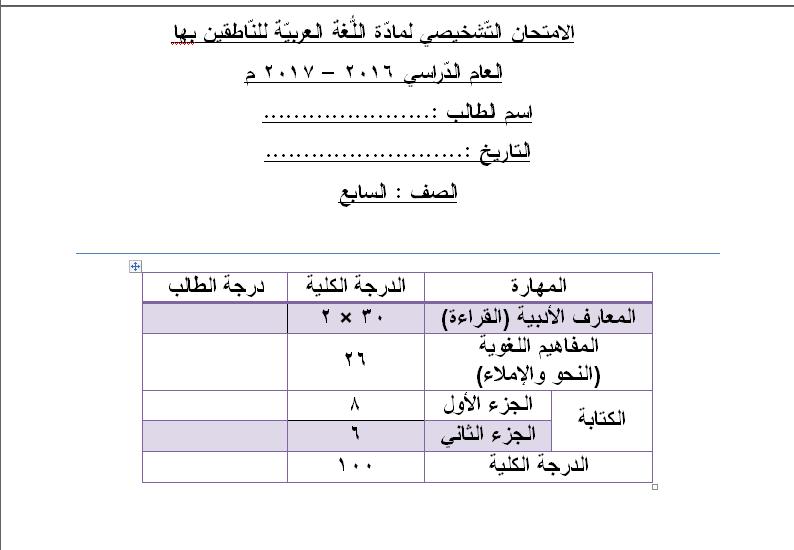 نموذج Word قابل للتعديل امتحان