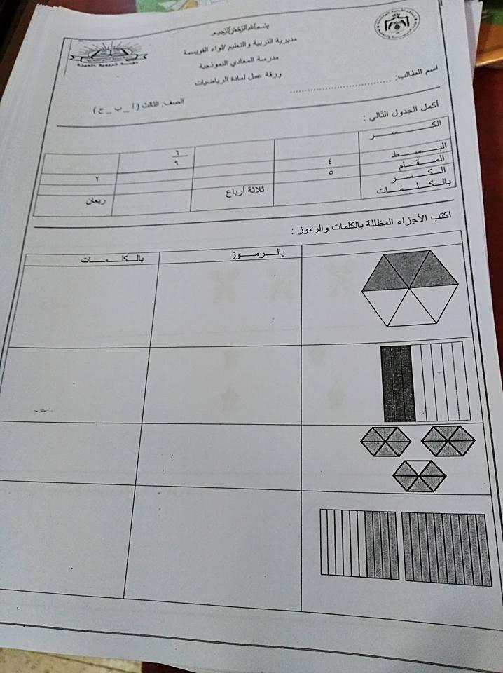 ورقة وحدة الكسور لمادة الرياضيات do.php?img=20007