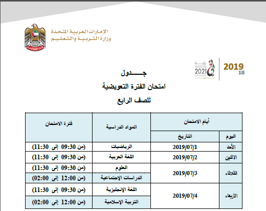 جدول مواعيد اختبار التعويض للصفوف